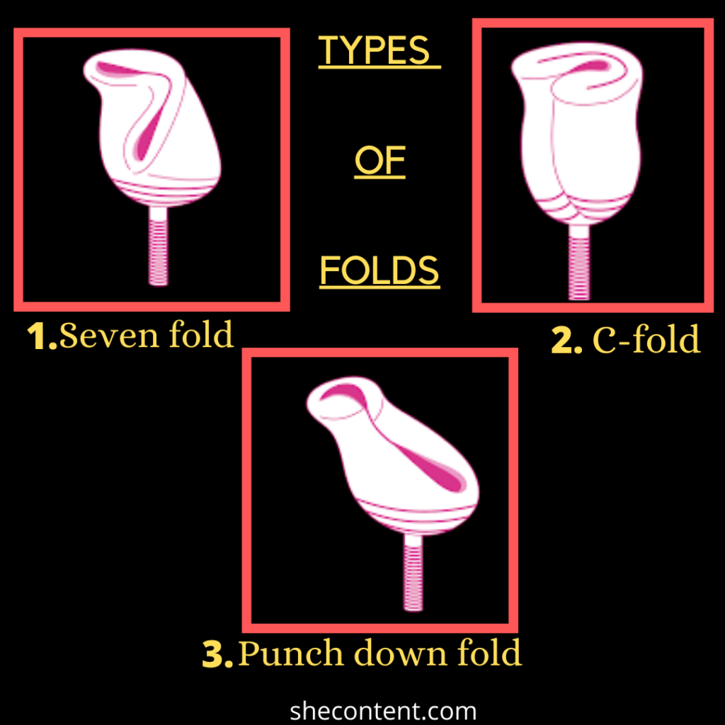 types of folds of menstrual cup